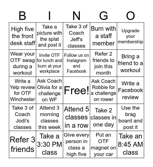 OTF #1136 Half Century Bingo Card
