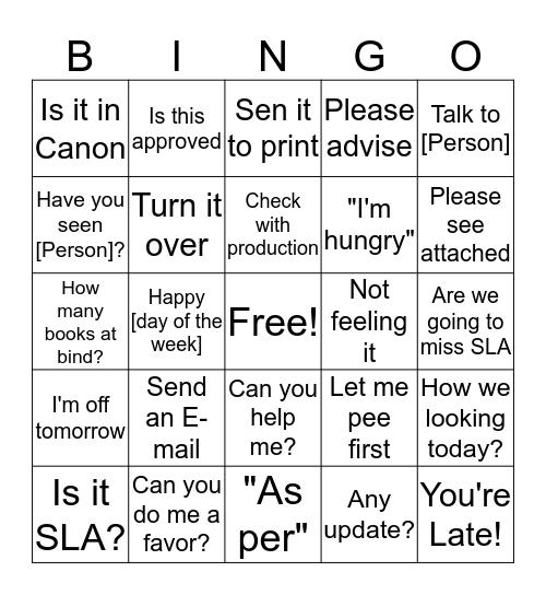 Bringo Bingo Card