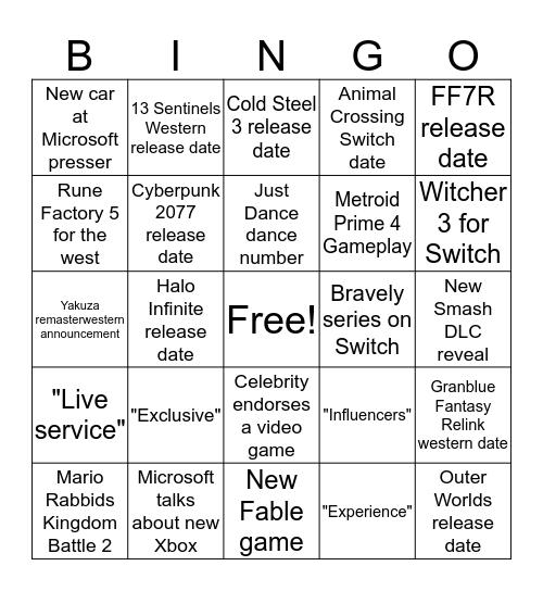 E3 2019 Bingo Card