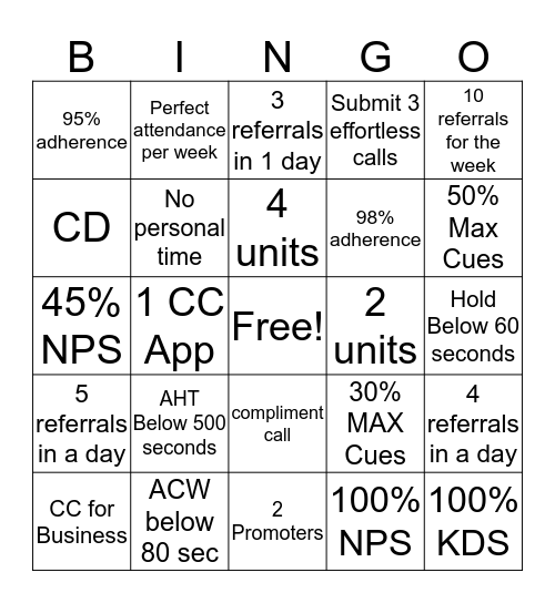 Just Do It Bingo Card