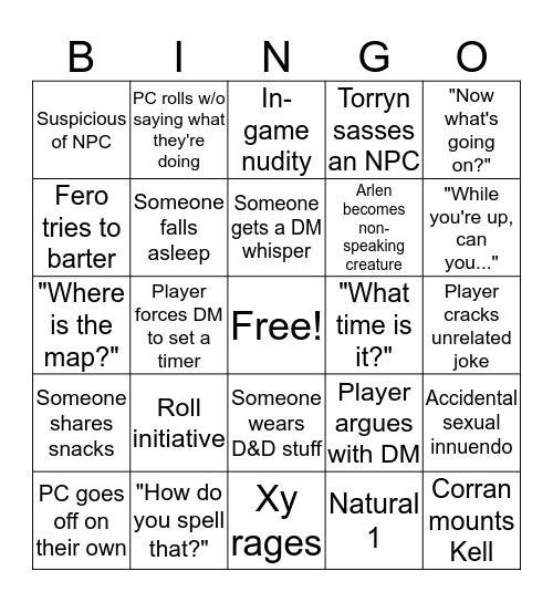 D&D Bingo Card