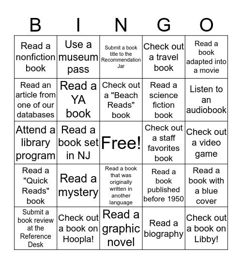 Middletown Library Summer Bingo Challenge Bingo Card