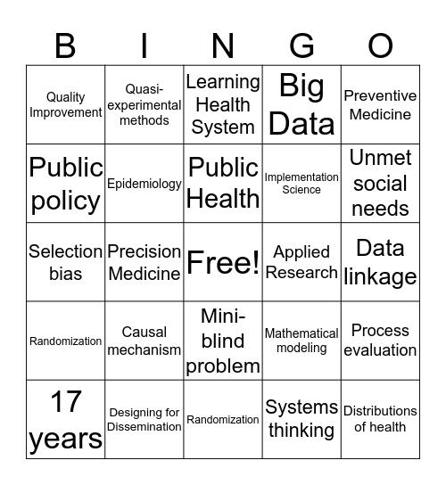 Population Health Bingo! Bingo Card