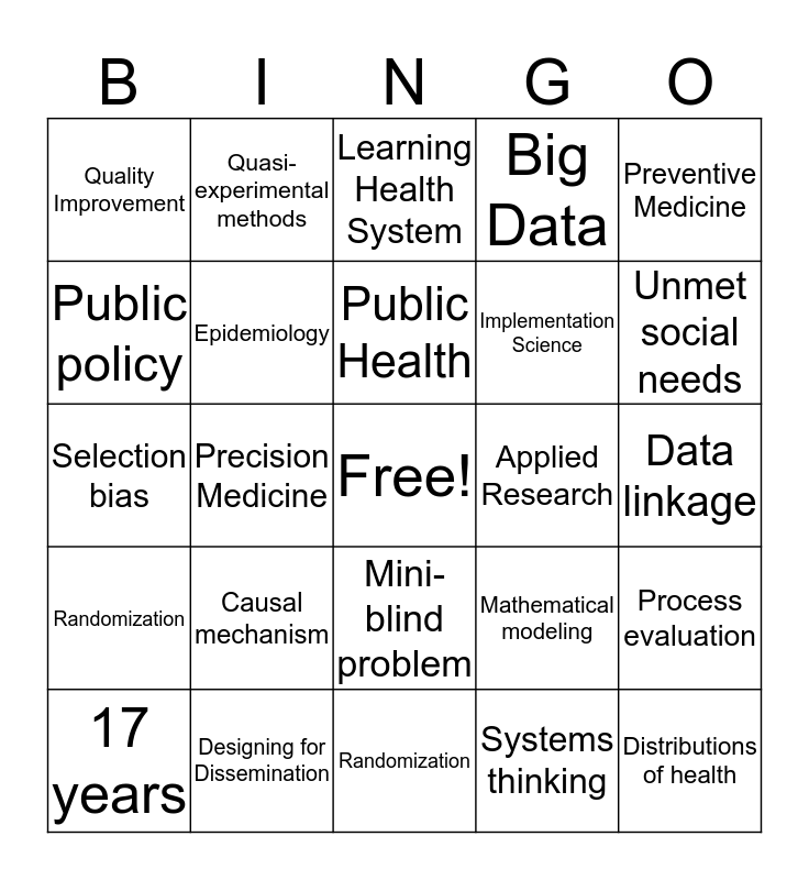 Population Health Bingo! Bingo Card