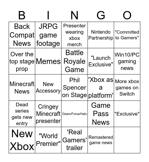 E3 2019 Xbox Bingo Bonanza! Bingo Card