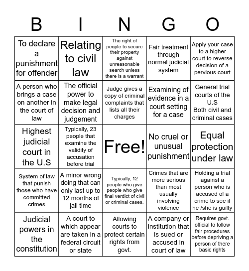 Judicial branch Bingo Card