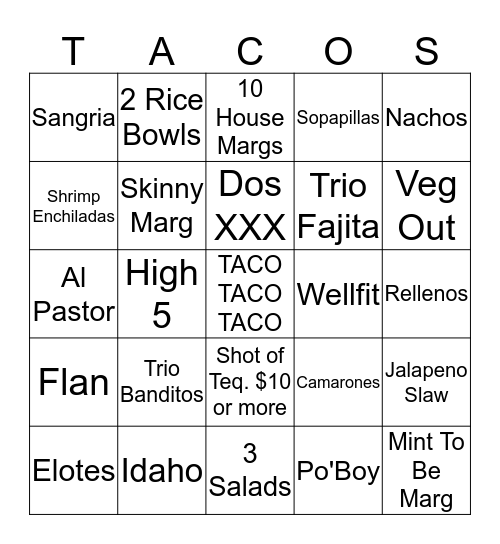 Tacos & Tequila Cantina Bingo Card