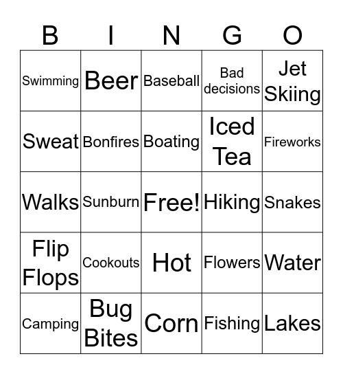 Fun in the Sun  Bingo Card