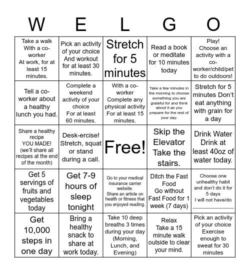 WELGO Bingo Card
