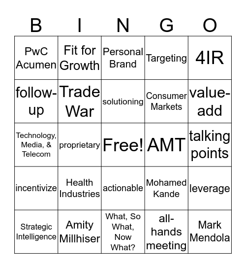Analytic Insights New Joiner Bingo Card