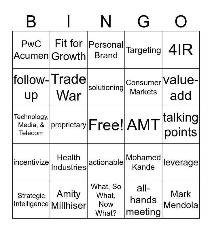 Analytic Insights New Joiner Bingo Card