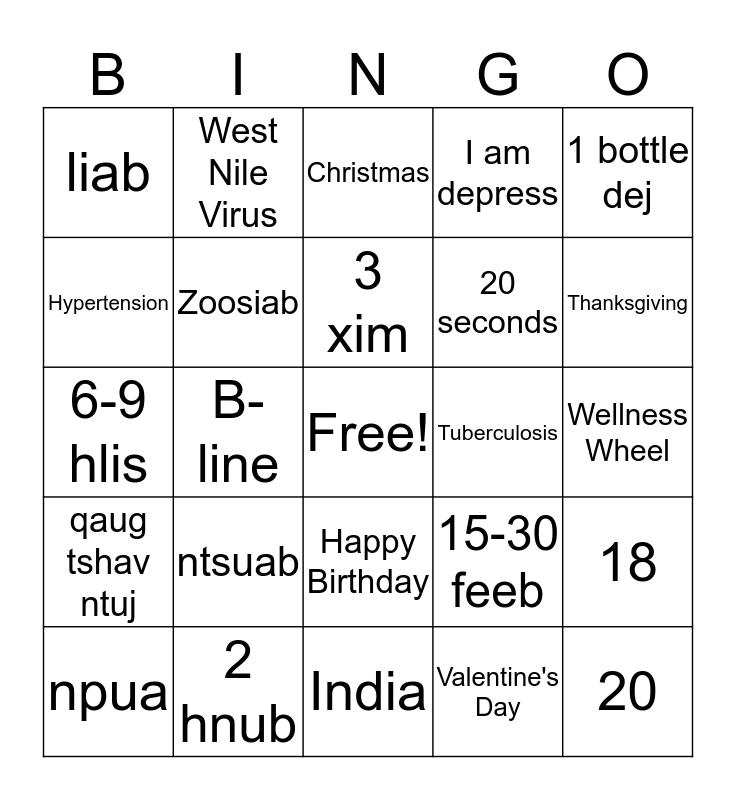 Mental Health Bingo Card