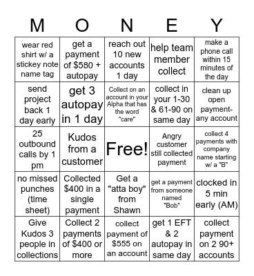 MONEY, MONEY, Bingo Card