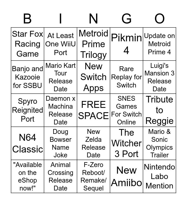 Nintendo E3 2019 Bingo Card
