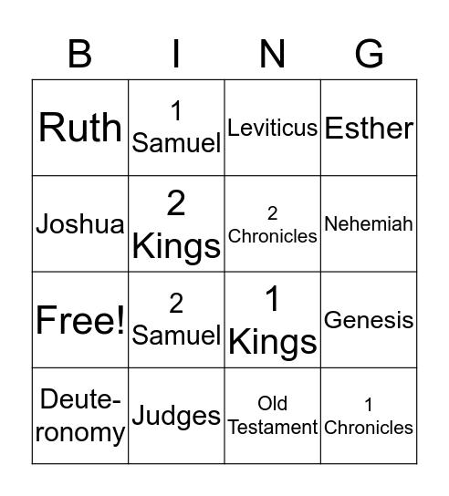 In the beginning Bingo Card