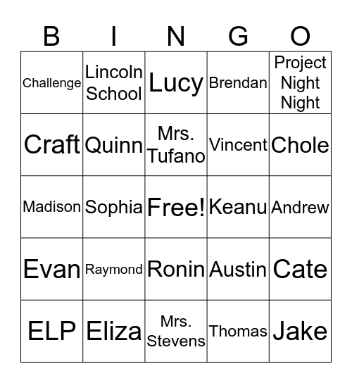 ELP Bingo Card