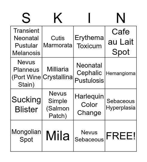 Infant Skin Assessment Bingo Card