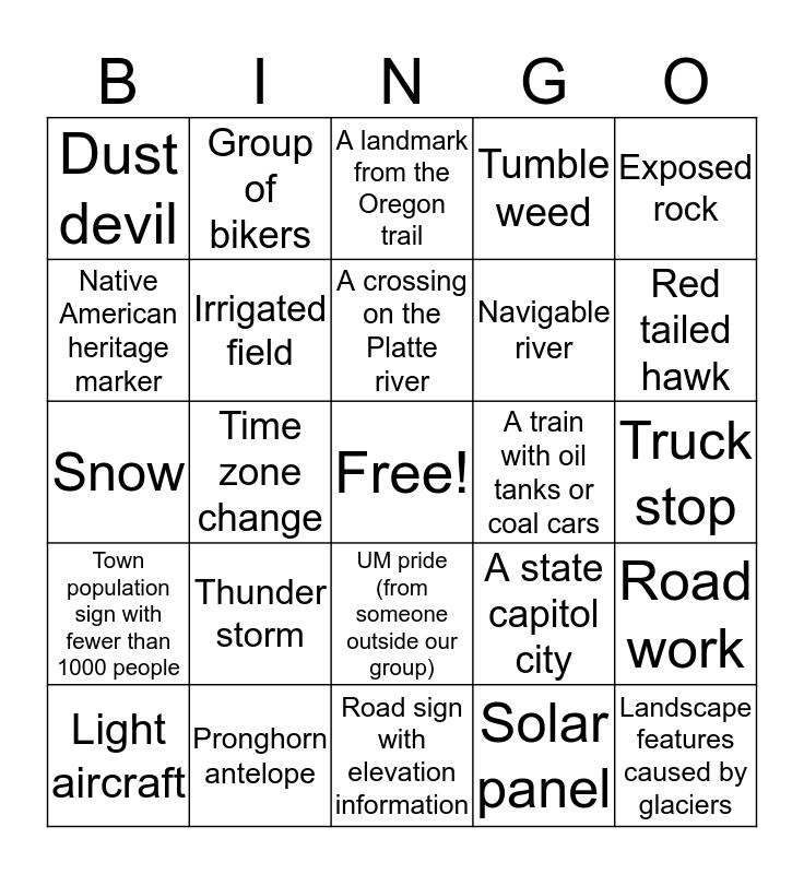 Earth 202 Roadtrip Bingo! Bingo Card