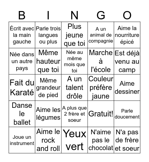 Bingo Humain Bingo Card