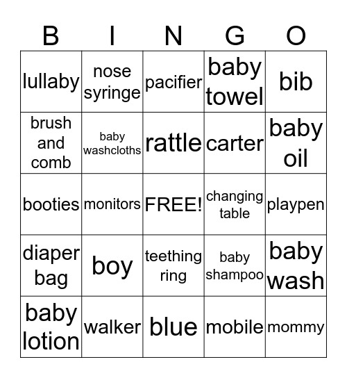 Desiree and Clints Baby Shower Bingo Card