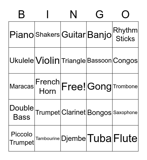 Music Instruments Bingo Card