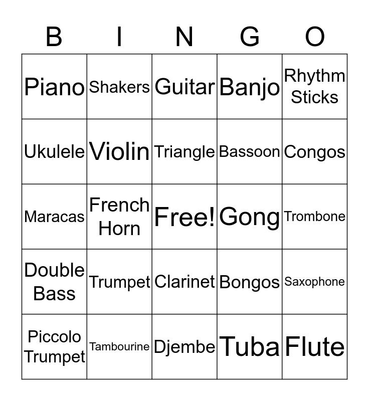 Music Instruments Bingo Card