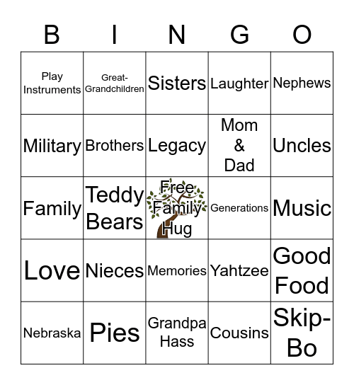 Hass Family Reunion Bingo Card