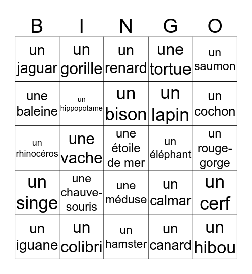 Mme. Hollenberg's Animal Bingo Card