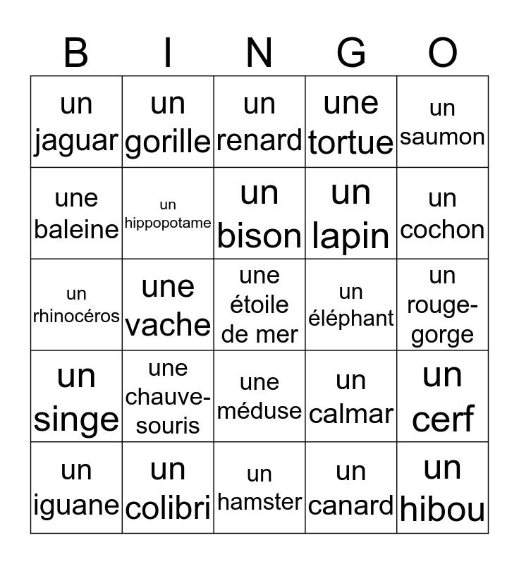 Mme. Hollenberg's Animal Bingo Card