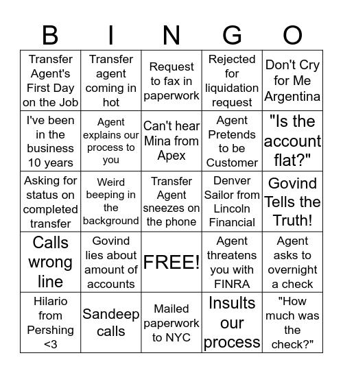 Transfer Agent Bingo Card
