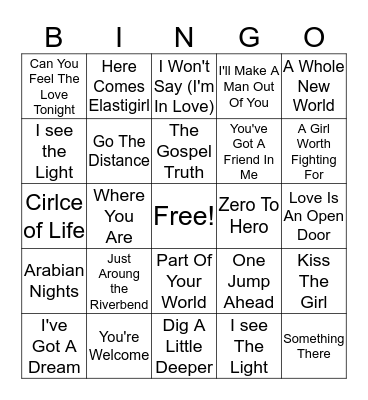 Disney Hits Bingo Card
