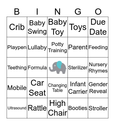 Christine's Baby Shower Bingo Card