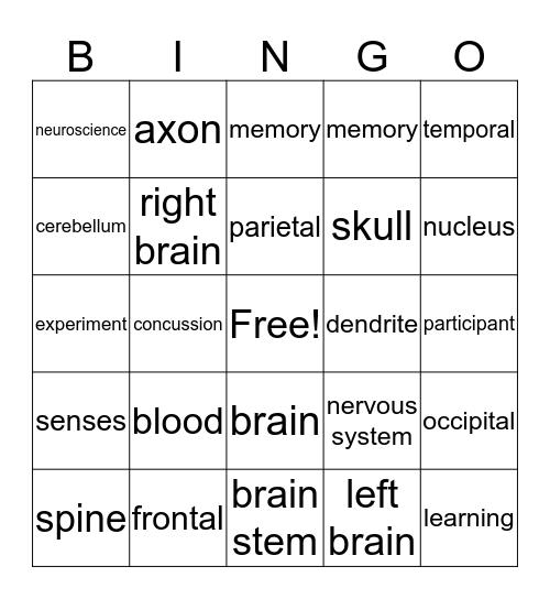 Brain Bingo Card