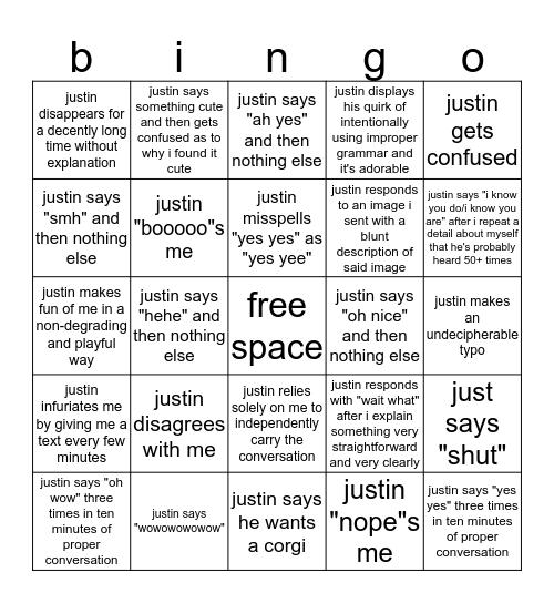 bad text bingo Card