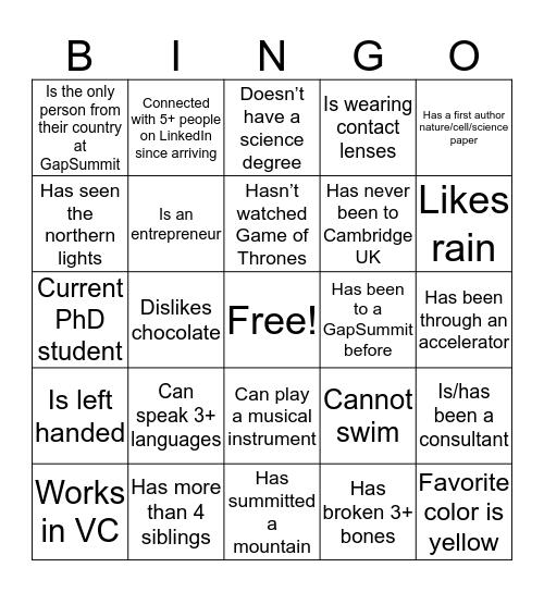 GapSummit Networking Reception Bingo (Find someone who...) Bingo Card