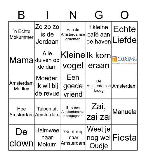 Nyenrode's Amsterdamse Uitje Bingo Card