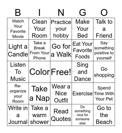 Self- Care Bingo Card