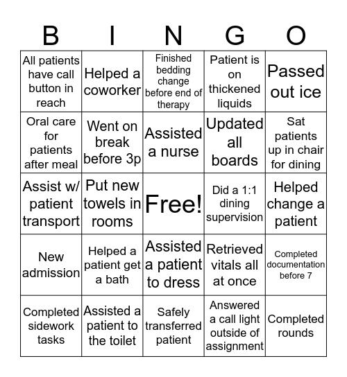 Happy CNA Week Bingo Card