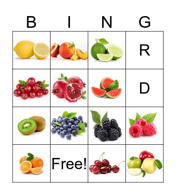 Fruits Bingo Card