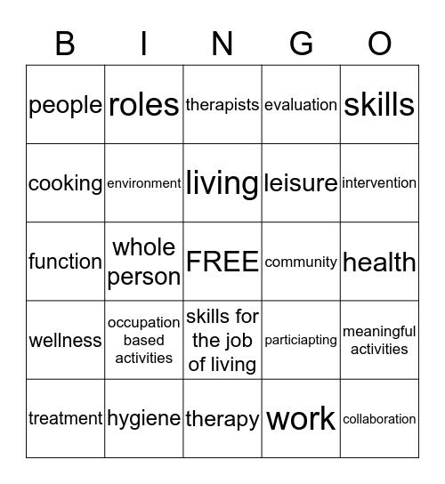 Occupational Therapy Bingo Card