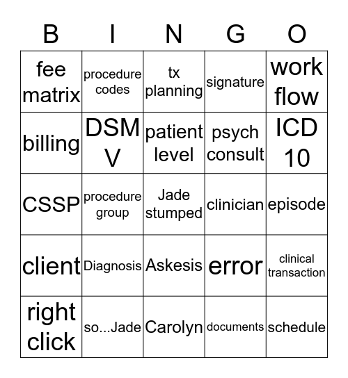 Askesis Bingo Card