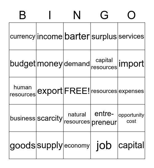 Econ Vocab Bingo Card