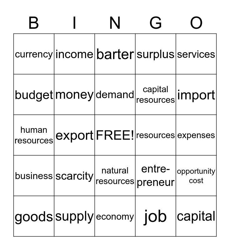 Econ Vocab Bingo Card