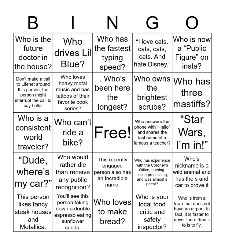 Tissue Bingo Card