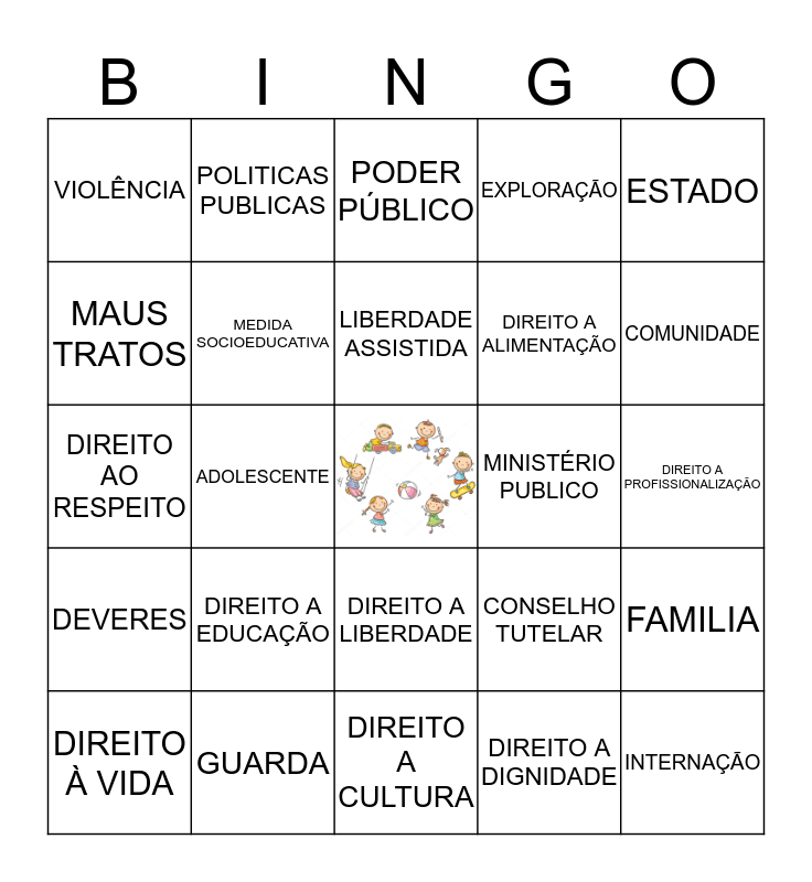 ESTATUTO DA CRIANÇA E DO ADOLESCENTE Bingo Card