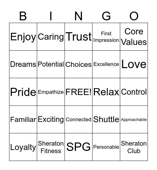 Sheraton Bingo-game 9 Bingo Card