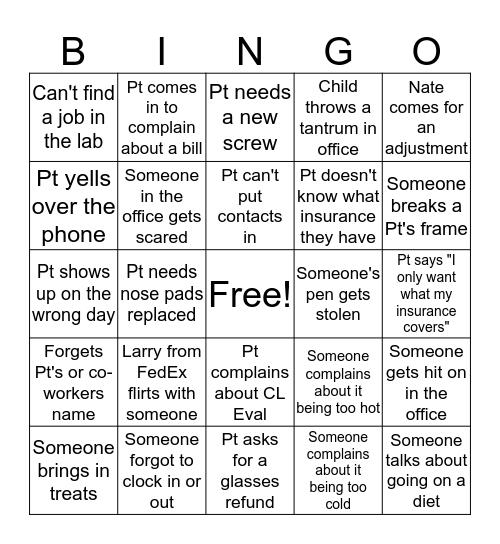 Office Bingo Baby Bingo Card