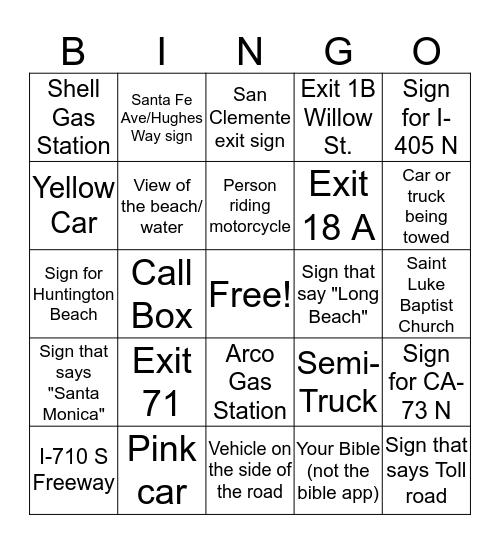 Bus Bingo Card
