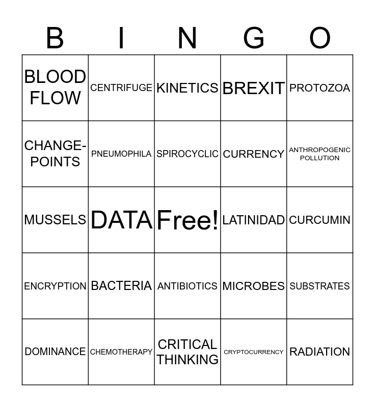 OURCS BINGO TOURNAMENT  Bingo Card