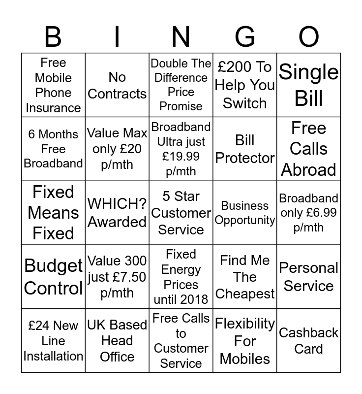 UTILITY WAREHOUSE  Bingo Card